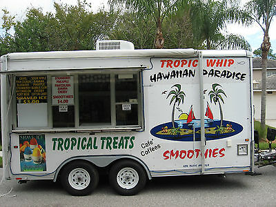16' Tropical Smoothies, Dolewhip, Hawaiian Ice, Ice Cream Concession Trailer