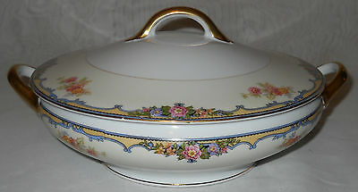 Antique Noritake Oxford Round Vegetable Bowl with Cover White