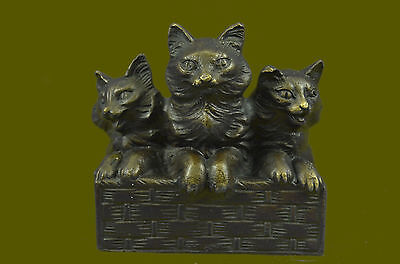 Bronze Sculpture Collectible Statue Animal Signed Mario Nick Vienna Felines Gift