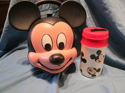 Vintage Mickey Mouse Head Lunch Box W/ Thermos
