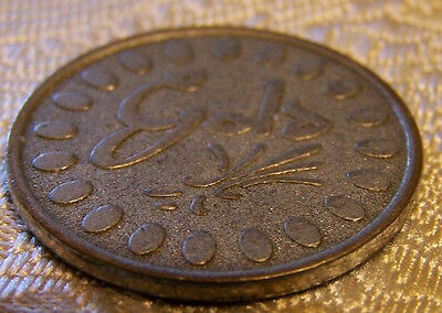 """Unknown Coin or Token, Estate Collection, Fancy Script  """" Gold """" Unidentified?"""