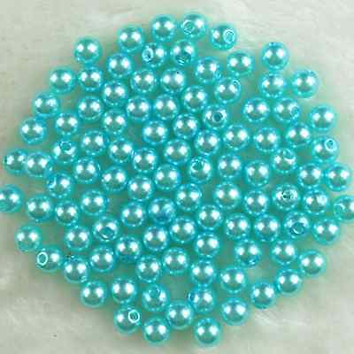 200Pcs 6mm Light Blue Round Acrylic Pearl DIY Spacer Loose Beads