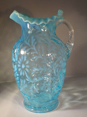 Fenton LG Wright Lighter Blue Opalescent Glass Pitcher Daisy and Fern
