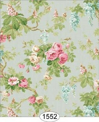 "Dollhouse Miniature Wallpaper ""Wisteria 2 in Dusty Blue"""