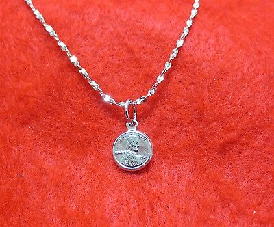 "14KT WHITE GOLD EP 16 INCH 1MM TWISTED NUGGET NECKLACE W/ A MINI ""LUCKY"" PENNY"