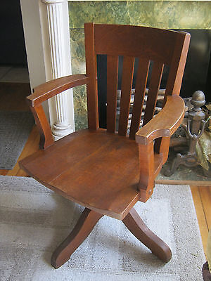 Antique 1920's  Swivel Wood Desk Arm Office Chair