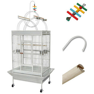 Large Parrot Bird Cage Flight Finch Macaws Pet Supply Aviary House w/ Free Toy
