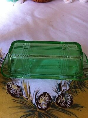 VINTAGE STYLE PRESSED GLASS COVERED BUTTER DISH *  GREEN GLASS *  SINGLE STICK