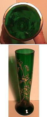 Beautiful Victorian Hand Painted Enameled Blown Green Glass Vase