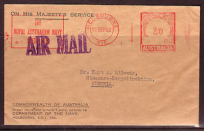 1950s COVER AUSTRALIA TO AUSTRIA OHMS FOR DEPT. OF NAVY.....