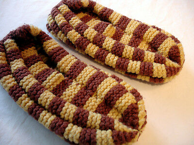 Men's Size 7-8-9 Hand Knit Slippers - Soft and Comfortable