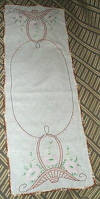 Beautiful Vintage Embroidered and Crochet Linen Table Runner