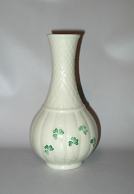 "Belleek Ireland 6.5"" Bud Vase Shamrock Irish Porcelain Brown Mark"