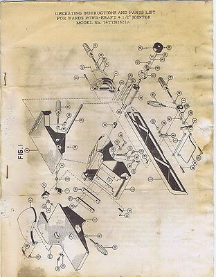 """Operating Instructions... For Wards Powr-Kraft 4 1/2"""" Jointer Model 74TTN2521A"""