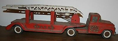 Vintage 1960's  Buddy L Fire Truck #3 Pressed Steel Aerial Ladder Toy Truck-T!
