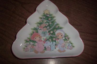 1992 Precious Moments Shaped Plate Christmas Tree Candy Dish