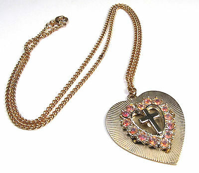 """Vintage 1950s AB Crystal Pink Cross Heart Religious Gold Pendant Necklace 18"""""""