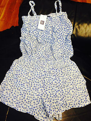 NWT GAP TODDLER BABY KIDS GIRLS BLUE DAISY FLORAL SMOCKED ROMPER SIZE 4-5 CUTE