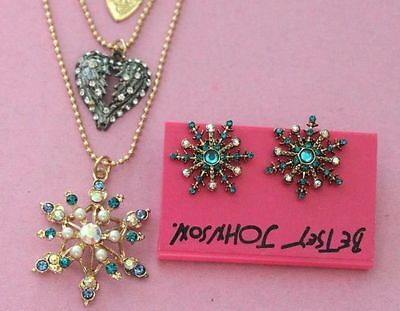 Betsey Johnson double layers luxury snowflakes necklace and earrings N032+E075