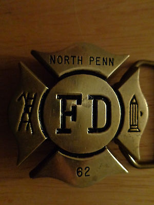 Solid Brass FD Belt Buckle - North Penn Fire Department 62 North Wales PA