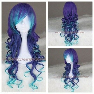Mixed Color Curly Hair Long Charm Lolita Wavy Anime Cosplay Synthetic Full wigs
