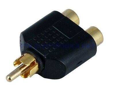 Gold Plated 1 to 2 RCA Phono AV Audio Video Double Splitter Adapter Mono Stereo