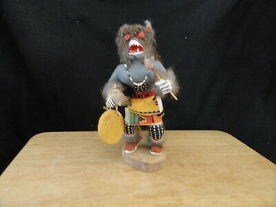 Native American Made Hand Carved Wolf Man Signed Kachina