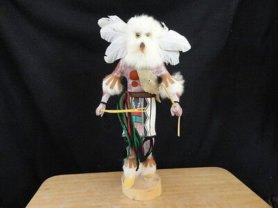 Native American Made Hand Carved 14 Inch Signed White Owl Kachina.