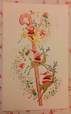 ~~ Vintage 1940s Christmas Card with Tiny Elves, Reindeer, & Gifts ~~