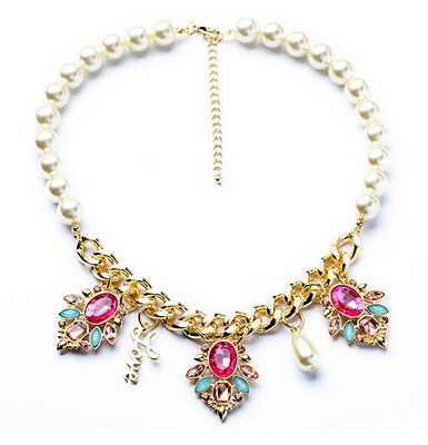 Free Shipping Betsey Johnson fashion Pearl crystal flower necklace N230