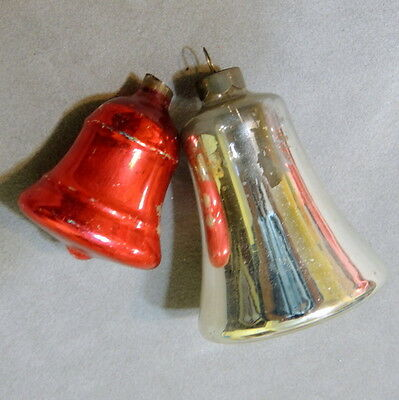 Christmas Ornament Glass Vintage Bell Silver Tone & Red Large & Small Lot of 2