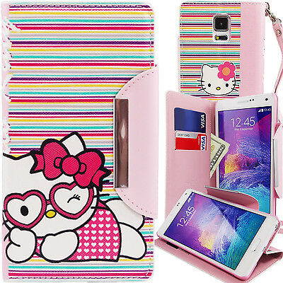 Hello Kitty PU Leather Stripes Wallet Case for Samsung Galaxy Note 4 Card Cover
