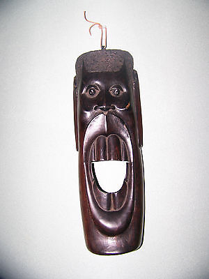 VINTAGE  LARGE HAND CARVED AFRICAN HAEVY WOOD WALL MASK Art