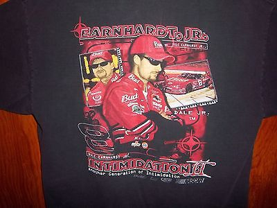 Vintage ~ DALE EARNHARDT Jr #8 INTIMIDATION 2001 T-Shirt BUDWEISER Daytona Large