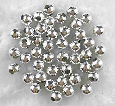60Pcs 6mm Silver Plated Metal Spacer Loose Beads DIY Jewelry Charms Findings