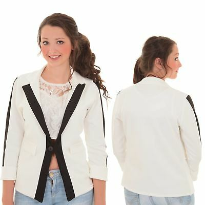 Ladies Turn Up 3/4 Sleeve Monochrome Panel Contrast One Button Blazer Jacket