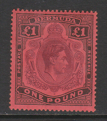 BERMUDA 1938-53 £1 PURPLE & BLACK WITH 'ER' JOINED SG 121a MINT.