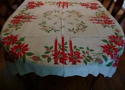 GORGEOUS Vtg RED POINSETTIAS Christmas Tablelcoth 3 Red Candles FESTIVE