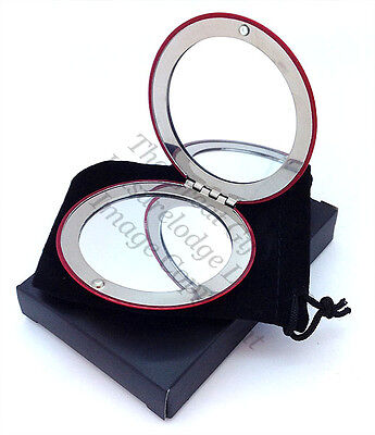 WOMENS DOUBLE HANDBAG COMPACT MIRROR 5 Colours Beautiful Quality Gift ENGRAVED