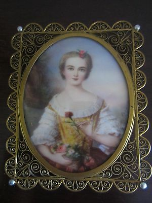 ANTIQUE MINIATURE PORTRAIT OF A LADY WITH FLOWERS ON IVORY  SIGNED