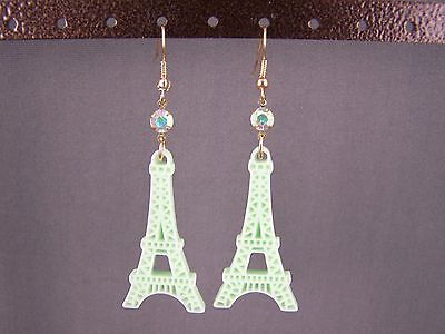 "Mint Green La Tour Eiffel Tower dangle 2.75"" long earrings Paris France travel"
