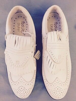 NEW WOMEN'S SIZE 8.5 M FOOTJOY WHITE WINGTIP GOLF SHOES METALITE SPIKES