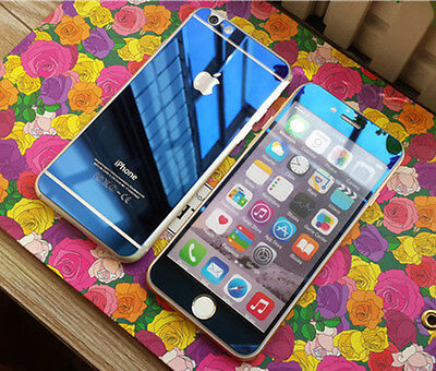 "Front + Back Blue Mirrored Tempered Glass Screen Protector For iPhone 6 4.7"" Set"