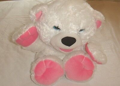 "FISHER PRICE Snuggle Kins Interactive Plush Baby White 8"" Bear Makes Sounds"