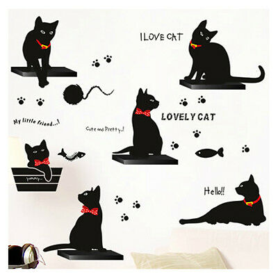 Black Cats Family DIY Wall Stickers Vinyl Art Mural Decals Removable Home Decor