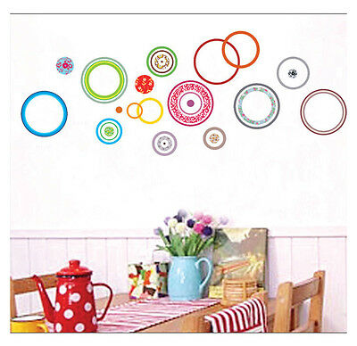 Colored Circles Wall Sticker Vinyl Art Mural Colorful Removable Decal Home Decor