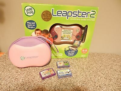 LEAP FROG LEAPSTER 2 LEARNING GAME SYSTEM 3 GAMES MATH STAR WARS & CASE