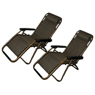 Set of 2: Zero-Gravity Canopy Lawn & Patio Chair with Head Rest - Black/Gold
