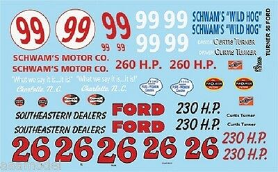 Gofer Racing 1/24-1/25 1956 Ford Curtis Turner Race Car Graphics decals 12002