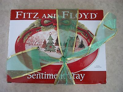 FITZ AND FLOYD Sentiment Tray HOME WARMS THE HEART Holiday Christmas Design Dish